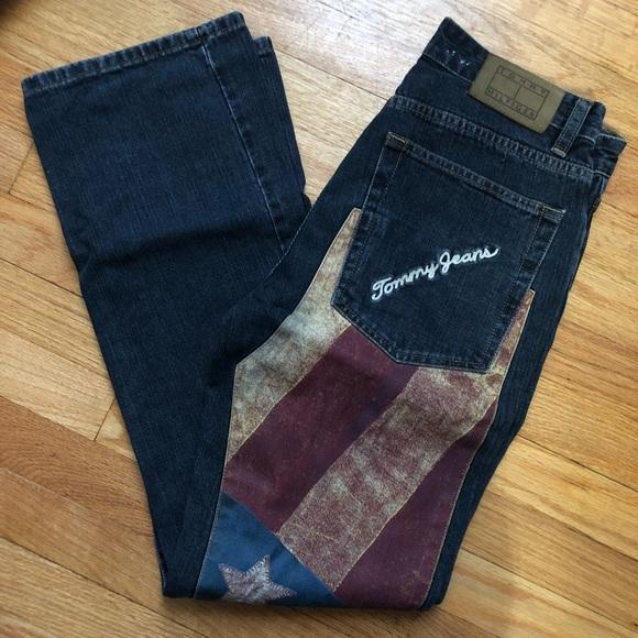 VTG 90s Tommy Hilfiger American Flag Jeans Size 29